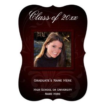 5x7 Burgundy Elegance Graduation Announcement