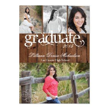 5x7 Country Rustic Barn Wood Senior Announcement