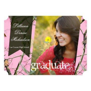 5x7 Pink Hunters Camo Camoufla Senior Announcement