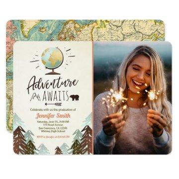 Adventure awaits Graduation invitation Travel