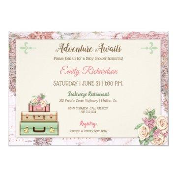 Adventure Awaits World Travel Pink Mint Floral Invitation