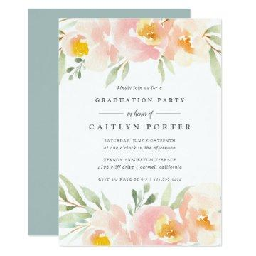 Airy Floral Graduation Party Invitation