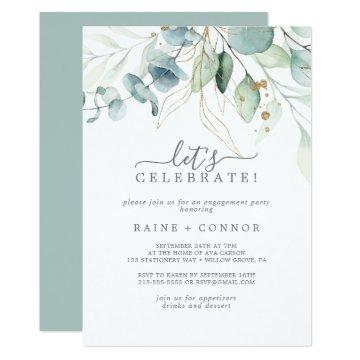 Airy Greenery and Gold Leaf Let's Celebrate Invitation