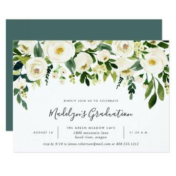 Alabaster Floral Graduation Party Invitation