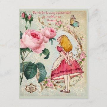 Alice in Wonderland Collage Graduation Party Invitation