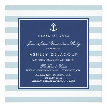 Anchor and Stripes | Light Blue Baby Shower Invitation
