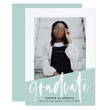 Angled Aqua Color Block | Photo Graduation Party Invitation
