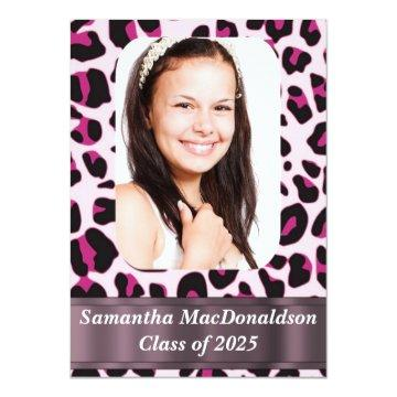Animal print photo graduation card