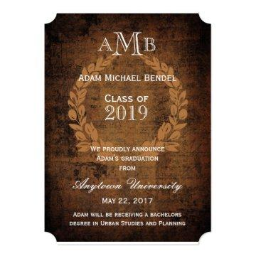 Antique Rustic Monogram Graduation Announcement
