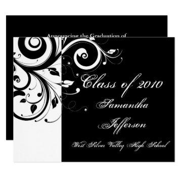 Any Year ~ Luxury Black/White Swirl Graduation Card