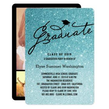 Aqua Glitter Stylish Graduate Grad Party Invite