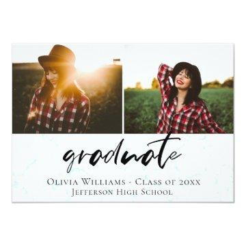 Aqua Marble Graduation Photo Announcement