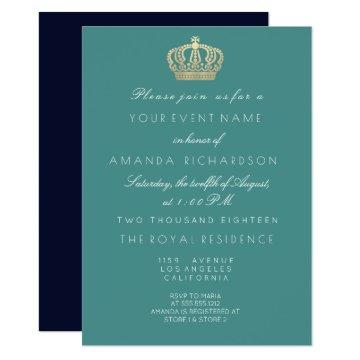 Aqua Navy Golden Crown Royal Glitter 16th Bridal Invitation
