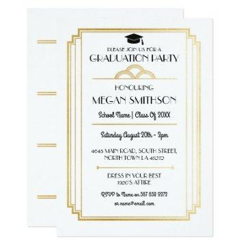 Art Deco Graduation Party 1920s Gatsby Gold Invite