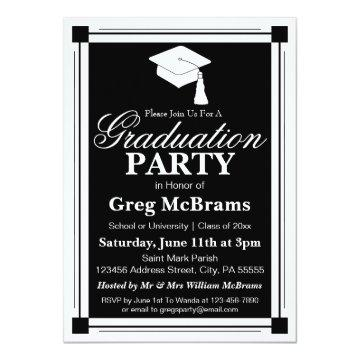 Art Deco Graduation Party Invitation