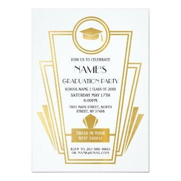 Art Deco Graduation Party Invite 1920s Gatsby Gold