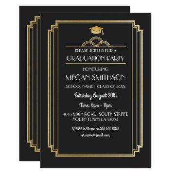 Art Deco Graduation Party Invite Gold 1920s Gatsby