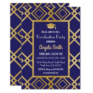 Art Deco Graduation Party Invite Gold navy 1920s