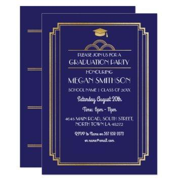 Art Deco Graduation Party Invite Navy 1920s Gatsby