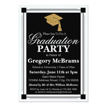 Art Deco Style Graduation Party Card