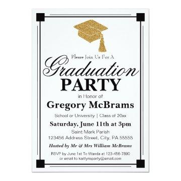 Art Deco Style White Graduation Party Card
