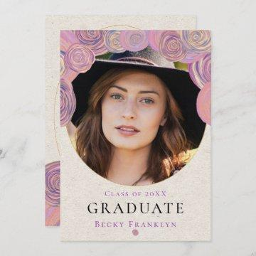Arty Roses Lilac Glitter Photo Graduation Party Invitation