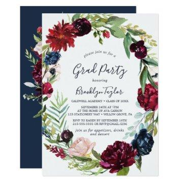 Autumn Garden | Burgundy Wreath Graduation Party Invitation