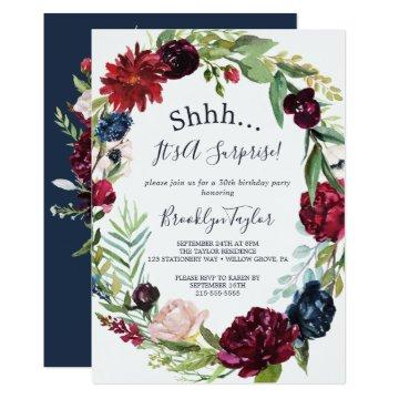 Autumn Garden | Burgundy Wreath Surprise Party Invitation
