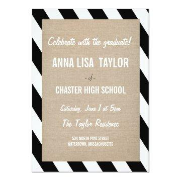 B&W Stripes Class of 2015 Graduation 2015 Invite
