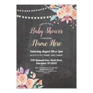 Baby Shower Invite Peach Flower Party Lilac Chalk