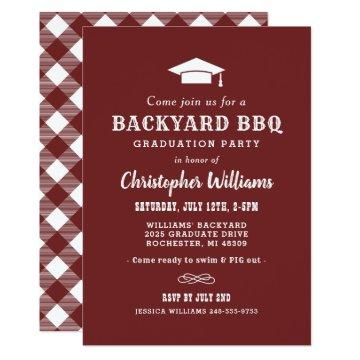 Backyard BBQ Graduation Party | Dark Red Invitation