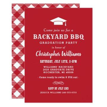 Backyard BBQ Graduation Party | Red and White Invitation