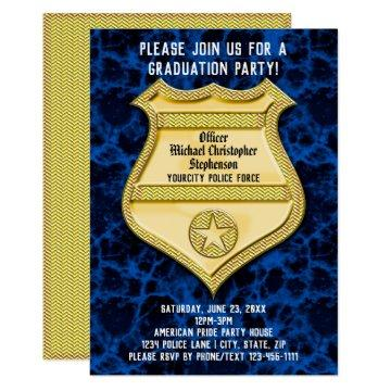 Badge Blue Marble Police Graduation Party Invitation