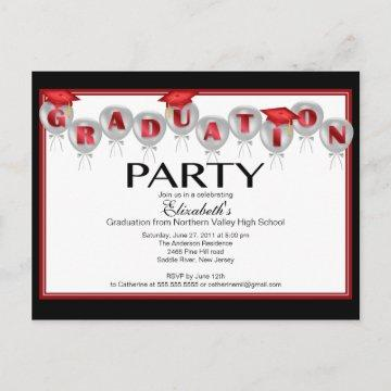 Balloon Graduation Party Invitation Red Grad Cap