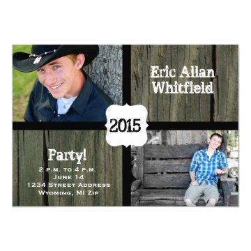 Barn Wood Photo Graduation Announcement Invitation