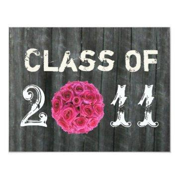 Barnwood and Hot Pink Rose Bouquet Class Of 2011 Card