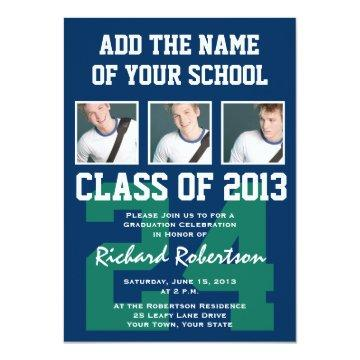 Baseball Dark Blue and Kelly Green Uniform Number Invitation