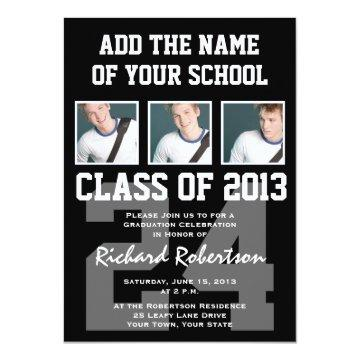 Baseball Player's Graduation with Uniform Number Invitation