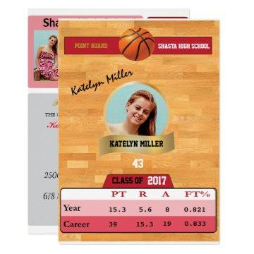 Basketball Card W/ Stats Grad  - red