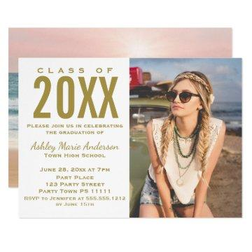 Beach Sunset Pink Gold Graduation Party with Photo Card