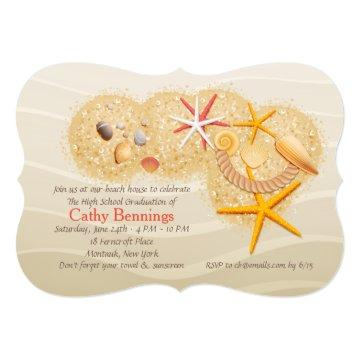 Beach Treasures Graduation Beach Party Invitation