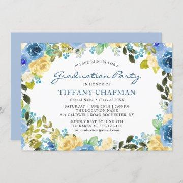 Beautiful Blue Yellow Floral Graduation Party Invitation