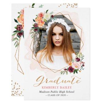 Beautiful Floral Gold Frame Photo Graduation Party