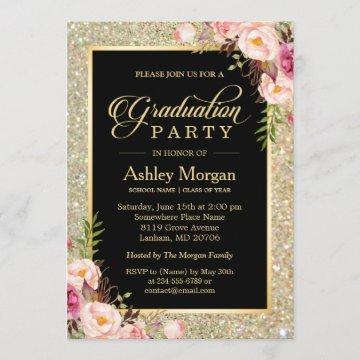 Beautiful Floral Gold Sparkles Graduation Party Invitation
