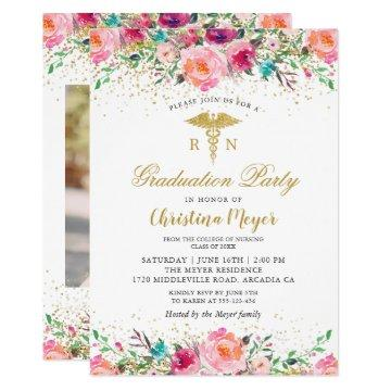 Beautiful Pink Floral Nurse Photo Graduation Party Card