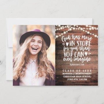 Bible Verse Photo Rustic String Lights Graduation Announcement