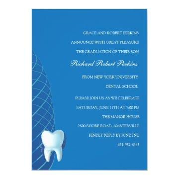 Bicuspid in Blue Dental School Graduation  Invitat Card