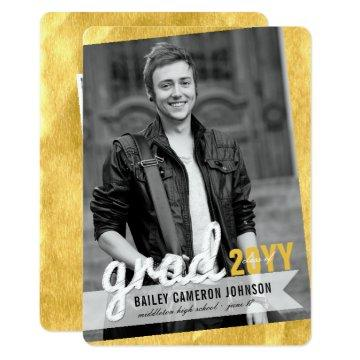 Big Grad Sketch Gold Foil Photo Graduation Party Invitation