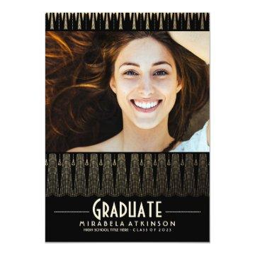 Black and Gold Art Deco Vintage Graduation Party Card