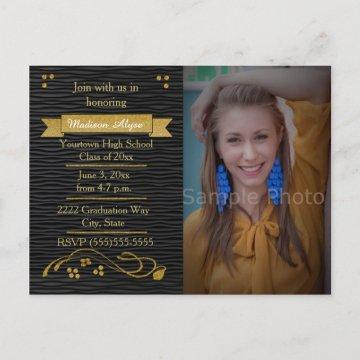 Black and Gold Photo Graduation Party Card